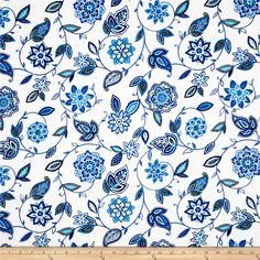 Waverly Lively Trail Delft from @fabricdotcom Screen printed on medium/heavyweight cotton duck, this fabric is perfect for some window accents (draperies and curtains), accent pillows, duvet covers, poufs, upholstery and other home decor accents. Create handbags, tote bags and more. Colors include shades of blue on white. This fabric has 51,000 double rubs.