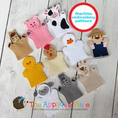 PATTERN Set of 10 Farm Finger Puppets In The by TheAppliquePlace