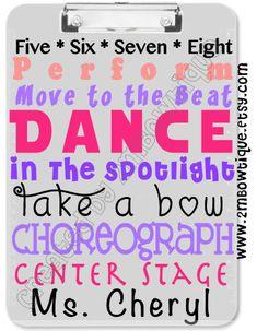 Dance Teacher Appreciation Clipboard. Free personalization. Great Gift Idea.