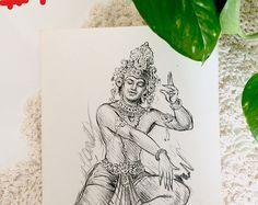 Religious Hindu god sketch art print - Antique Shiva