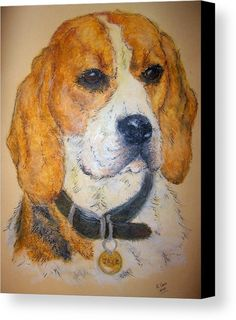 """Beagle dog: An oil pastel drawing of a beagle dog printed on to premium stretched canvas over a wooden frame by Kelly Goss Art. Delivered """"ready to hang"""". Perfect to brighten up and decorate your home. Fit for any wall in any room. The special gift to spice up a friend's home decor. For a lover of animals, pets and art."""