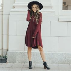 35 Flatter Tunic Dress You Must-Have For Your Fashion - Fashionmgz Mode Outfits, Dress Outfits, Fall Outfits, Fashion Outfits, White Outfits, Tunic Dress With Leggings, Classy Outfits For Women, College Outfits, Winter Dresses
