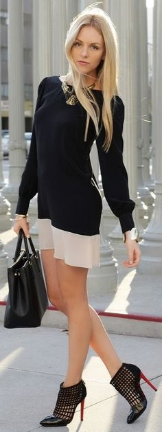 Fantastic Business Lady Black & Nude Combination Summer Outfit. Amazing Shoes.