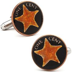 Hand Painted Bahamian One Cent Coin Cufflinks