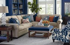 L-Shaped Sectional by Bassett Furniture Beige Living Rooms, Coastal Living Rooms, New Living Room, Formal Living Rooms, Home And Living, Living Room Furniture, Living Room Decor, Dark Blue Living Room, Small Living