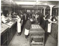 Preparing the papers at The Printworks, Manchester