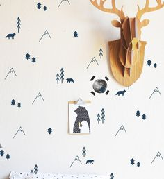 Kids Wall Decals TeePee Camp Wall Decals With Canoe Campfire - How to get vinyl decals to stick to textured walls