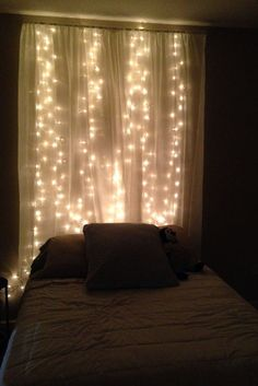 Quite clever Teen Girl Bedrooms for superb room makeover, number 4340656920 Christmas Lights In Bedroom, Bedroom Decor Lights, Bedroom Lighting, My New Room, My Room, Diy Curtains, Curtain Headboards, Sheer Curtains, Teen Girl Bedrooms