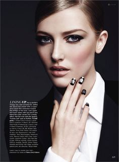 """Emily Van Raay models an updated Twiggy eye (seen at Anna Sui) paired with the """"tuxedo nail"""" (seen at Ruffian) for Flare, September 2011"""