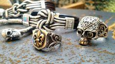 Snantara joias.  www.santara.com.br   Jóias em prata masculinas, anel de caveira, pulseiras de couro com prata, bracelete em prata skull.
