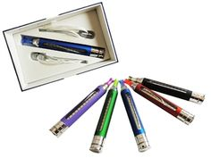 Electronic Vaporizer, built in atomizer, 6.0ml capacity, comes with two extra wick attachments. Available in purple, blue, red, and black.