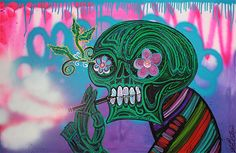 Cloud Chaser by Laura Barbosa Unique Vaping Art on Canvas for Modern Walls and Cool Spaces. This is a Green Alien Type Sugar Skull who Loves to Vape! It's a Cool Graffiti Style Painting. Original, …
