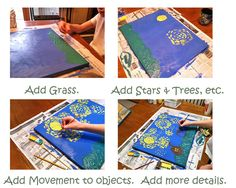 Steps to a paint like van Gogh project for kids.