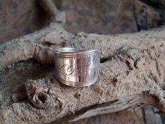 "R2- Handmade spoon ring, Newport 1879 sz 8-1/2  Monogrammed ""HPL"" Silver Plated #handmade #SpoonRing"