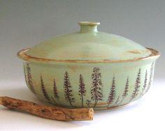 Love the trees!!!  Stoneware Casserole - 2 Quarts - Ponderosa Pines - Hand Thrown