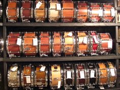 Some of the BRADY snare drums currently available at Fork's Drum Closet in Nashville, USA. Drums Studio, Drum Room, How To Play Drums, Snare Drum, Percussion, Nashville Usa, Engine, Drummers, Musical Instruments