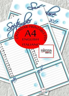 SEPTEMBER monthly PRINTABLE calendar 2017 PLANNER  A4  pdf - CALENDARIO 2017 mese SETTEMBRE planner stampabile - A4 - pdf - download instantaneo - versione italiano e versione in inglese - bolle blu