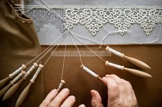 'Merletto a tombolo' Pillow lace or Bobbin Lace, is created using 100% linen thread with 'fuselli' wooden bobbins, woven with pins on intricate designs.  Anghiari lace is all woven from 100% linen thread as apposed to cotton thread in most other regions of Italy.