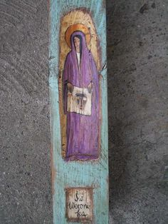 Saints  - Wall Hanging Wooden Rustic Painted Catholic Shrine Religious Shrine Original Wood Sculpture Art. 293.00, via Etsy.