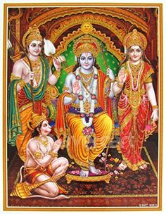 Lord Rama / Shree Ram Darbar / Ram, Laxman, Janki (Sitaji) and Hanuman / Hanumanji Poster 12 x 18 inch Rolled -- Awesome products selected by Anna Churchill