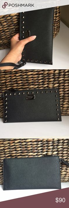 Michael kors clutch studded Brand new with tags 100% authentic gun metal color hardware Michael Kors Bags Clutches & Wristlets
