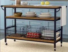 Kitchen Islands With Storage - Brown Top Antique Bronze Base Wood with Two Open Shelves Casters- Additional Space for Your Kitchen Essentials Kitchen Sink Diy, Kitchen Island Storage, Kitchen Island Cart, Kitchen Islands, Kitchen Tips, Ikea Shelves, Kitchen Essentials, Kitchen Colors, Open Shelving