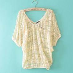 Fashion Batwing Lace crochet Short Sleeve Nylon Blouses