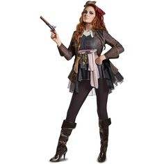 Pirates of the Caribbean 5: Captain Jack Female Deluxe Adult Costume ($64) ❤ liked on Polyvore featuring costumes, halloween costumes, adult jack sparrow costume, pirate sash belt, deluxe pirate costume, adult halloween costumes and jack sparrow pirate costume