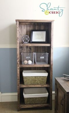 Perfect bookcase for our family room. Plans and details included on this website!