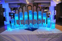 5 Ideas for LED Centerpieces - Glow Bar Mitzvah Candle Lighting Display by VIP Caterers Boca - mazelmoments.com