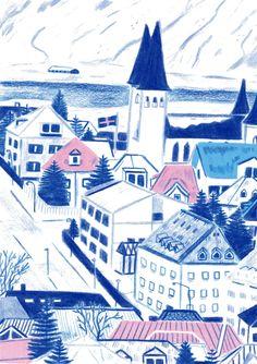 Reykjavík Street by Laurel Pettitt  #illustration