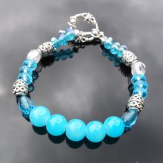 Scuba Blue and Silver  Beaded Bracelet by DungleBees on Etsy