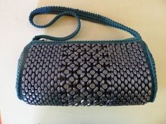 Vintage blue beaded crocheted hand bag purse excellent