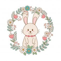 Little Rabbit With Wreath Flowers Easter Character Baby Animal Drawings, Cute Drawings, Logo Rabbit, Logo Circular, Bunny Drawing, Wreath Drawing, Paper Flowers Craft, Baby Room Art, Cute Paintings