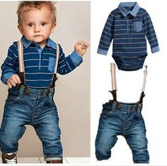 Stripe Shirt & Denim Set Little Boy Outfits, Little Boy Fashion, Cute Outfits For Kids, Little Boys Clothes, Baby Boy Fashion, Baby Boy Outfits, Toddler Outfits, Cute Little Boys, Toddler Boys