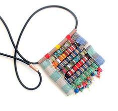 Rolled Fabric Beads Pendant Ne