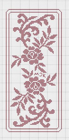This Pin was discovered by Boż Funny Cross Stitch Patterns, Cross Stitch Borders, Cross Stitch Flowers, Cross Stitch Designs, Cross Stitching, Cross Stitch Embroidery, Filet Crochet Charts, Crochet Motifs, Knitting Charts