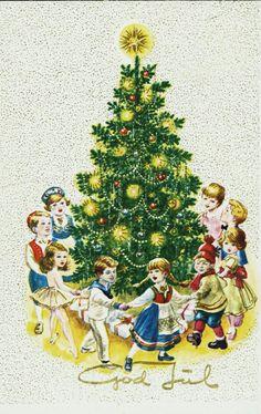 Julekort Harald Damsleth. Usign kort med gang rundt juletreet Utg Børrehaug & Co, postgått 1962