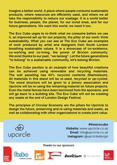 The Eco Cube by Upcircle Design Studio London, London Design Festival, Slow Design, Circular Economy, Design Movements, Graphic Design Studios, Sustainable Design, Innovation Design, Ecology