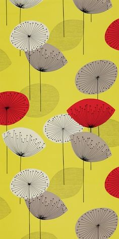 Sanderson Dandelion Clocks (50s)    The 'Dandelion Clocks' wallpaper design is now available in two new, bright colourways and complement the printed fabric, which has also been updated with two new original 50's tones.