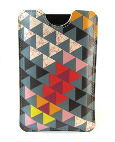 Leather iPhone case with card slot   http://folksy.com/items/3672994-Leather-iPhone-case-with-card-slot-Triangles