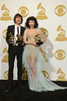 GRAMMY winners Gotye and Kimbra backstage at the 55th Annual GRAMMY Awards on Feb. 10 in Los Angeles