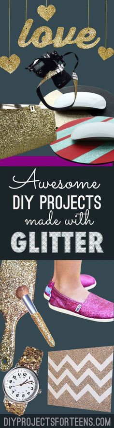 Awesome DIY Crafts and DIY Projects Made With Glitter - Sparkly Ideas that Are Perfect for Teens, Tweens and Adults Room Decor Ideas, Gifts and Cool Fashion Ideas http://diyprojectsforteens.com/diy-crafts-made-with-glitter/