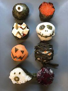 Recipe for scary beautiful Halloween sushi with salmon, radish & seaweed - - Halloween Snacks, Halloween Kids, Happy Halloween, Bulgogi, Sushi Recipes, Baby Food Recipes, Japan Sushi, Creepy Food