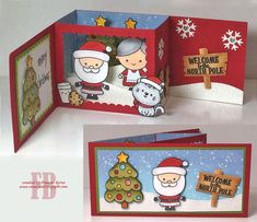 53 Ideas For Diy Christmas Cards Pop Up Projects - Christmas crafts Diy Christmas Cards Pop Up, Xmas Cards, Handmade Christmas, Holiday Cards, Christmas Scrapbook, Christmas Crafts, Pop Up Box Cards, 3d Cards, Fancy Fold Cards