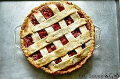 Fry Sauce & Grits: Rhubarb Strawberry Pie with Sour Cream Crust