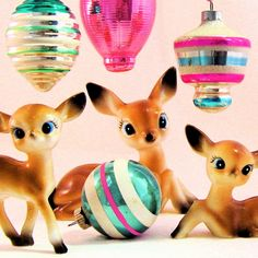 Kitsch Christmas---love it so much Christmas Deer, Merry Little Christmas, Christmas Past, Vintage Christmas Ornaments, Retro Christmas, Vintage Holiday, Christmas Holidays, Glass Ornaments, Xmas