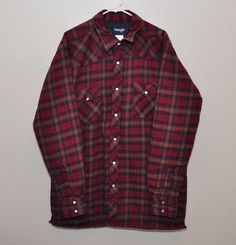 Wrangler Western Quilted Lined Flannel Shirt Jacket Pearl Snap Red Plaid size L #Wrangler #ShirtJacket