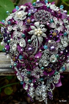 Cascading purple and teal wedding bouquet  (get 15% discount until the 15th October via http://chicvintagebrides.com/index.php/bridal-accessories/noaki-chic-vintage-brides-exlcusive-15-discount/)