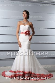 Gracious Mermaid Sweetheart Court Train Wedding Dress With Color Sashes